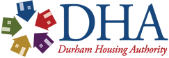 Durham Housing Authority logo with five colorful house icons